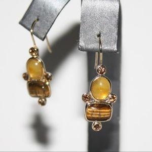 Liz Claiborne Tiger eye gold earrings